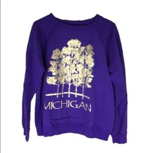 Vintage 90s Purple Metallic Michigan Sweatshirt L